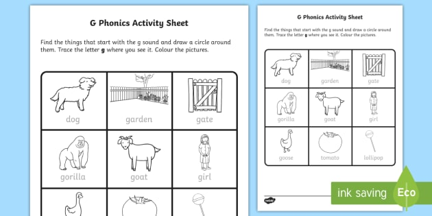 G Phonics Worksheet   Activity Sheet
