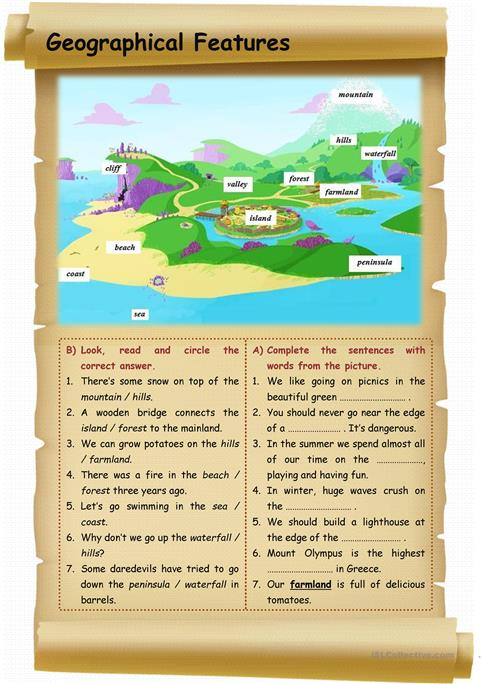 Geographical Features Worksheet