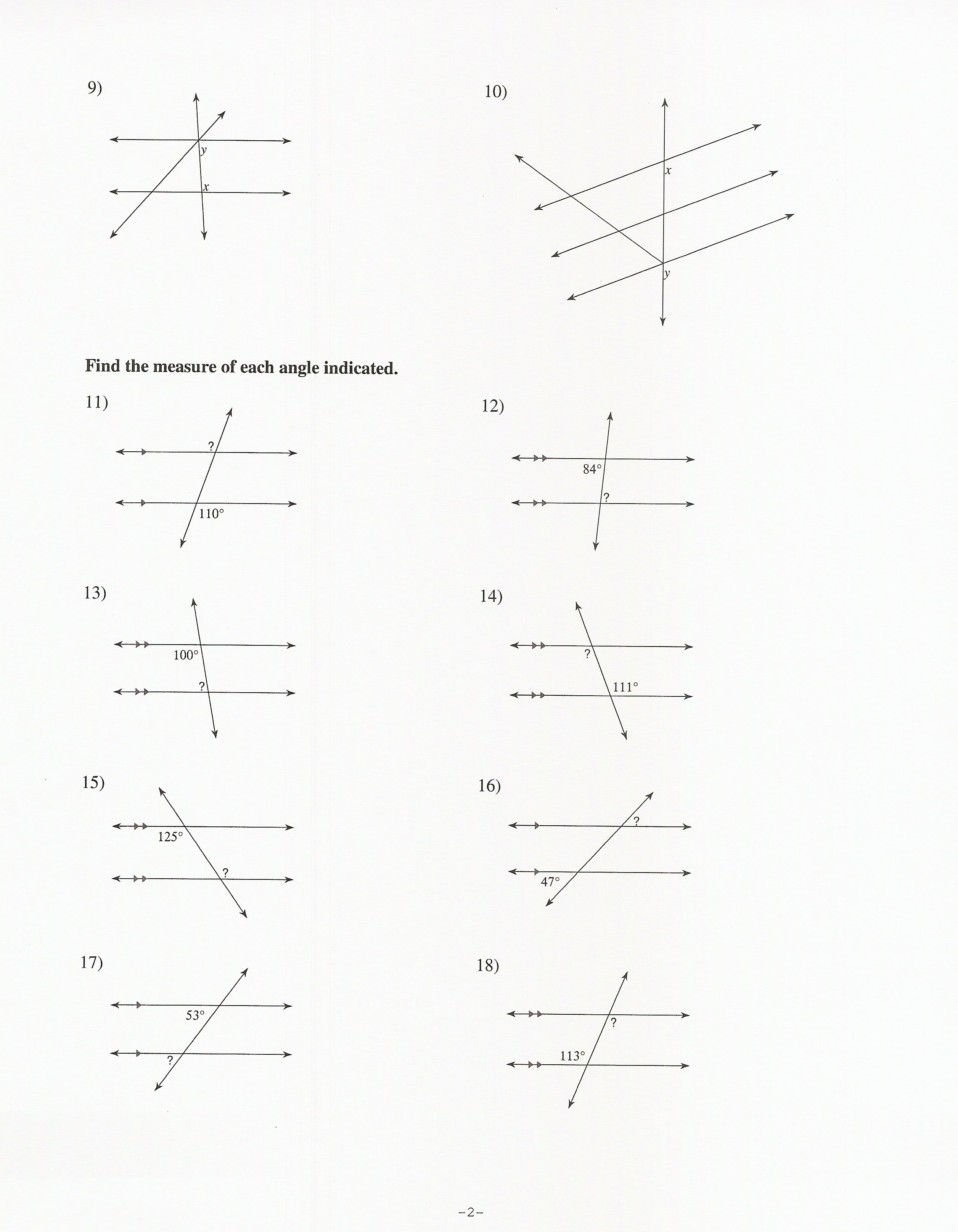 Geometry Parallel Lines And Transversals Worksheet The Best