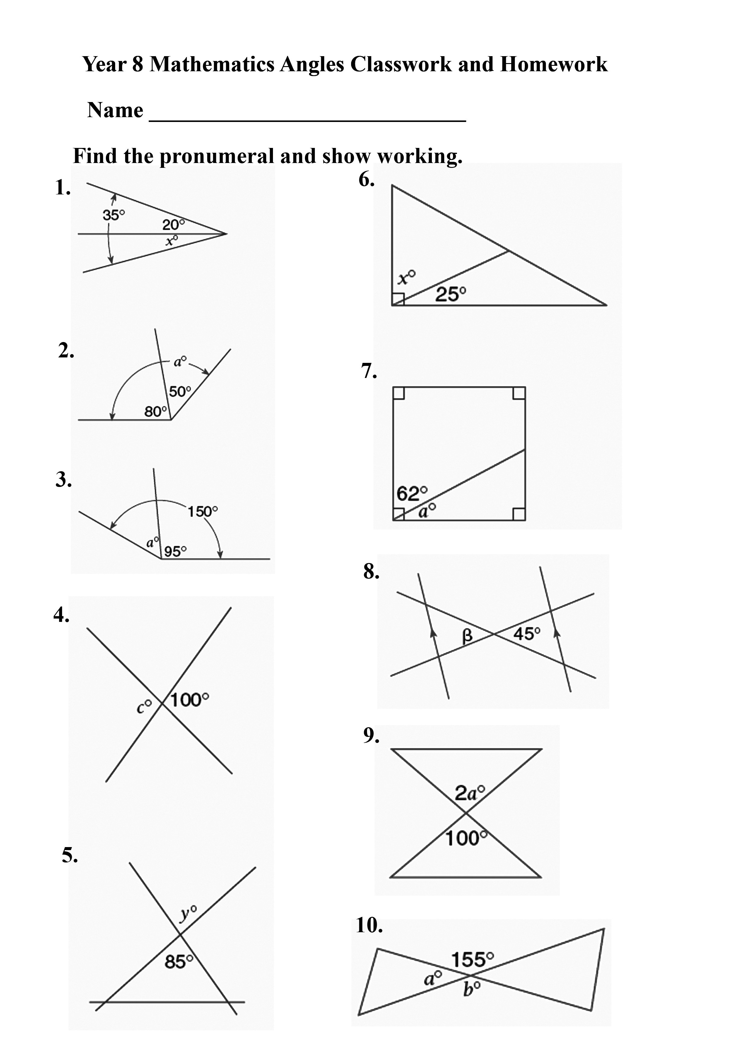 Geometry Worksheet Angles The Best Worksheets Image Collection