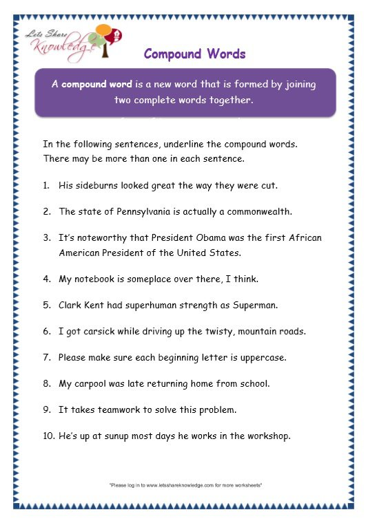 Grade 3 Grammar Topic 20  Compound Words Worksheets