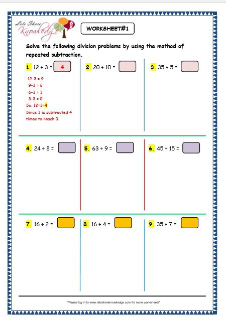 Grade 3 Maths Worksheets  Division (6 1 Division By Repeated