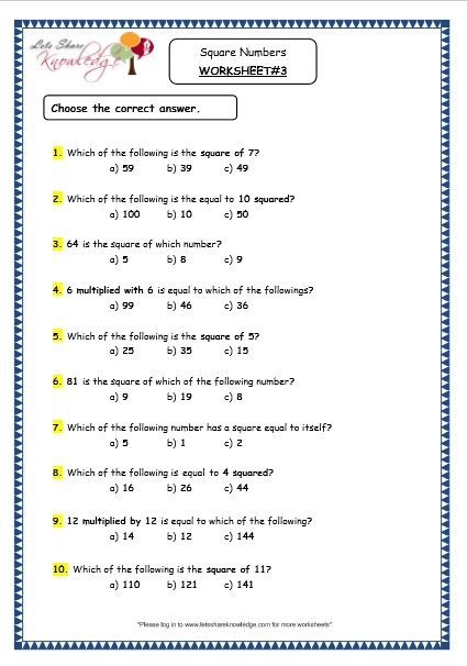 Grade 4 Maths Resources (1 12 Square Numbers Printable Worksheets