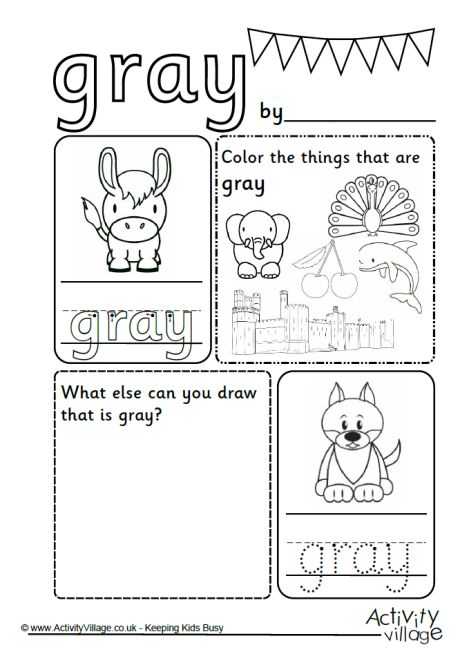 Gray Colour Worksheet