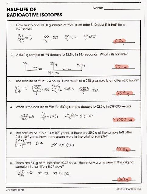 Half Life Worksheet Half Life Worksheet Tom Schoderbek Chemistry
