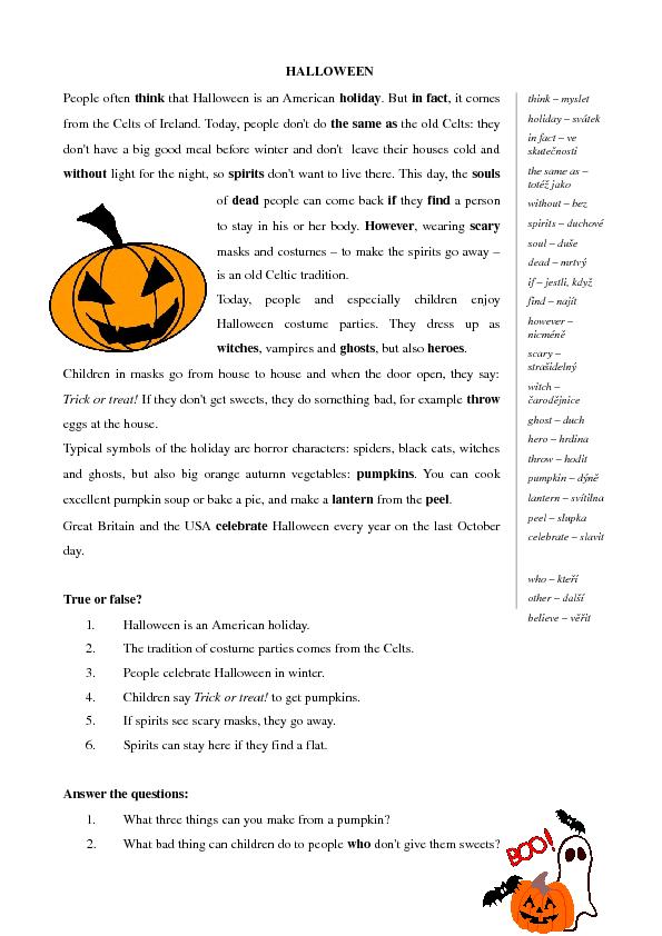 Halloween Comprehension Worksheets Worksheets Download