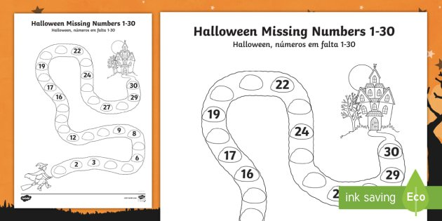 Halloween Spooky House Missing Numbers To 30 Worksheet