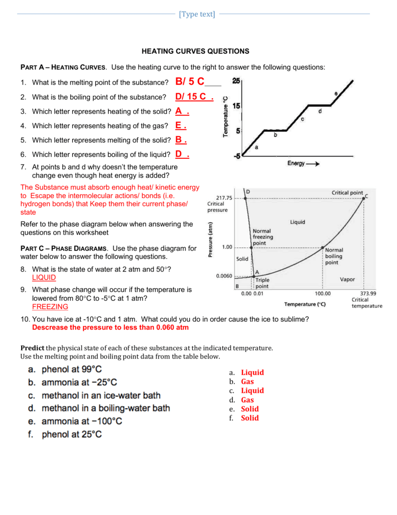 Heating A Curve Worksheet