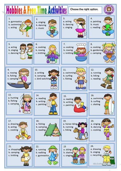 Hobbies And Free Time Activities Worksheet