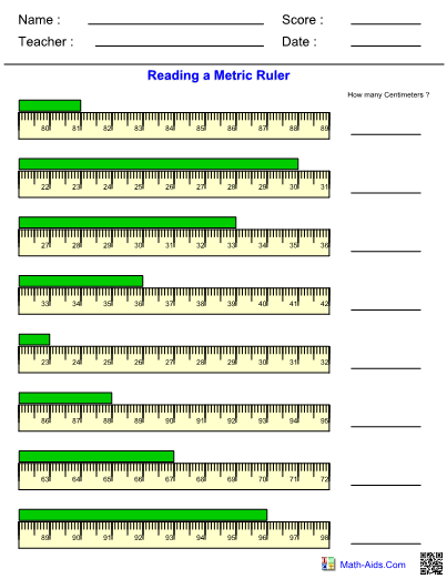 How To Read A Ruler Worksheet Measurement Worksheets With Answer