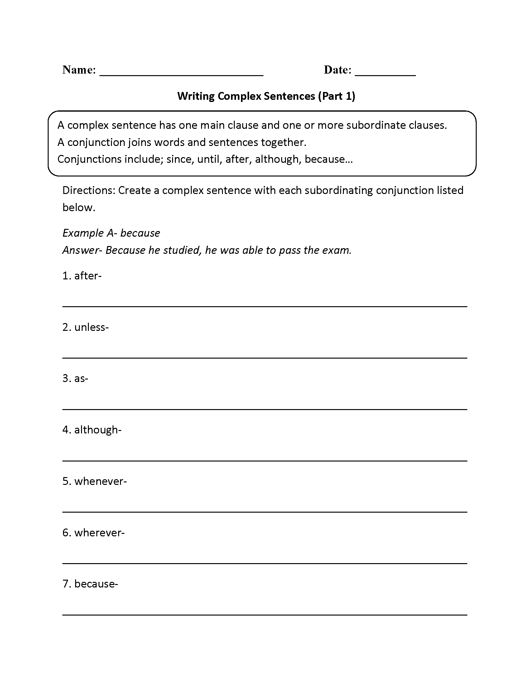 How To Write A Sentence Worksheets The Best Worksheets Image