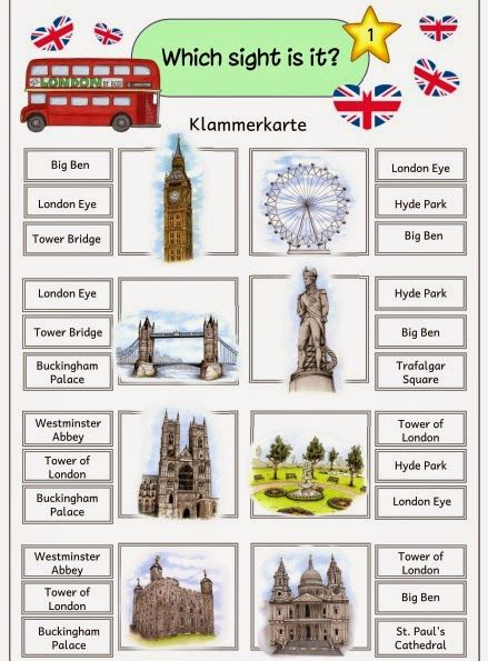Ideenreise  Klammerkarten  Sights Of London