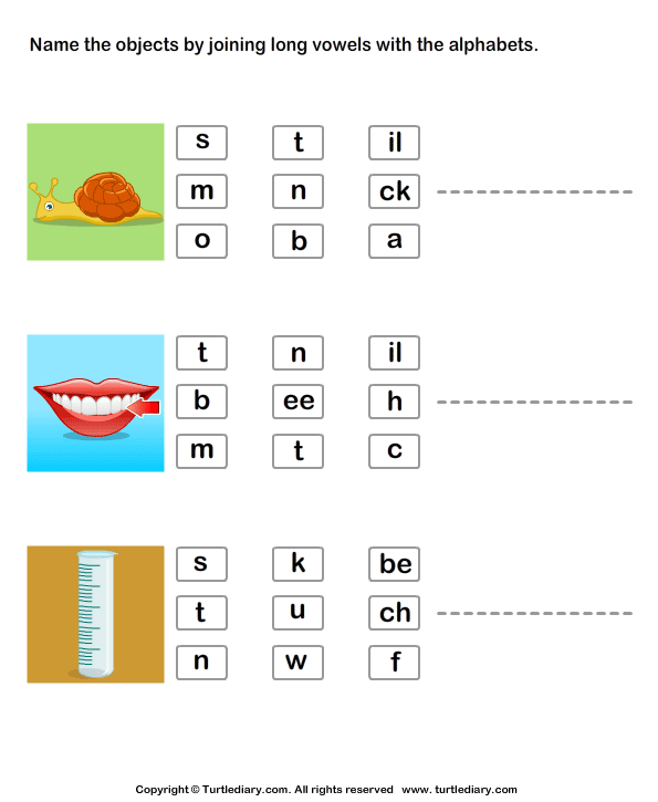 Identify Pictures By Joining Long Vowels With Alphabets Worksheet
