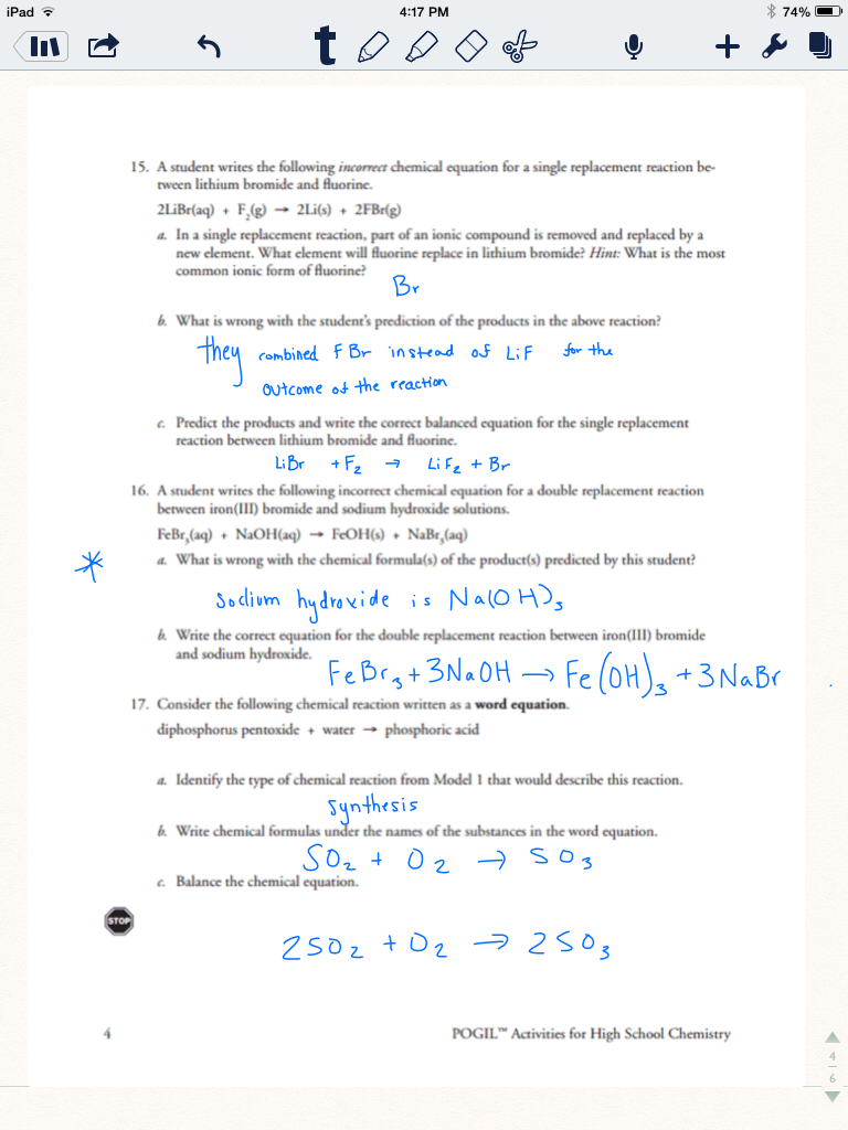 Identifying Types Of Chemical Reactions Worksheet Worksheets For