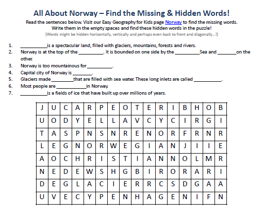 Image Of Norway Worksheet