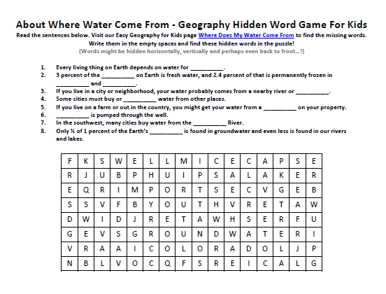 Image Of Where Water Come From Worksheet