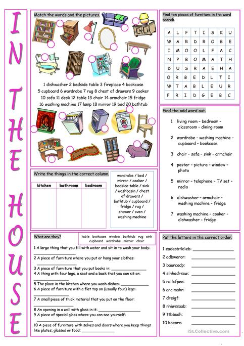 In The House Vocabulary Exercises Worksheet