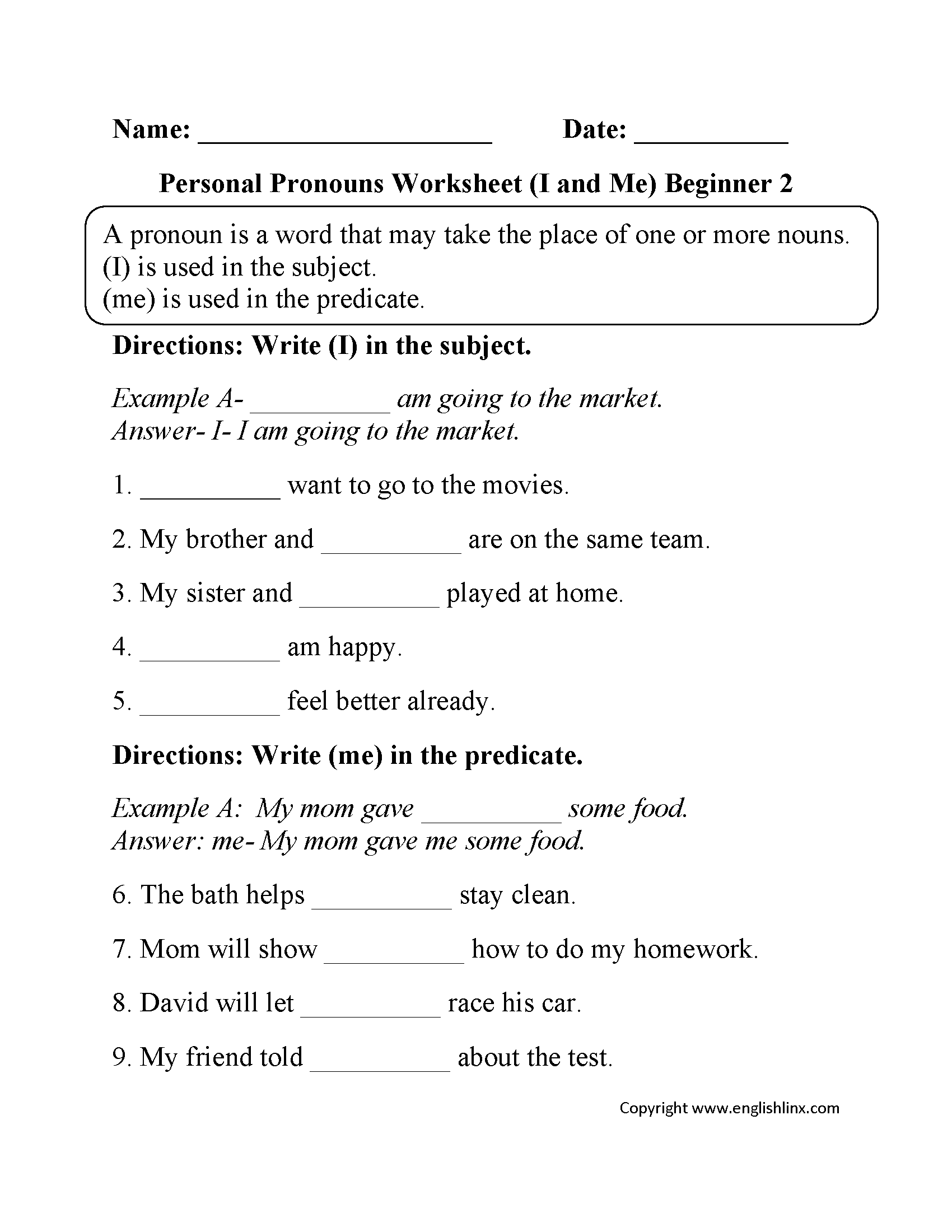 Intensive Pronouns Worksheet The Best Worksheets Image Collection
