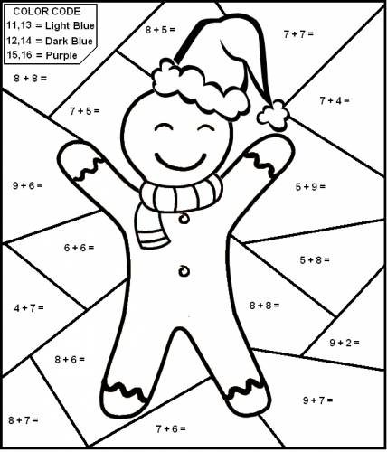 Interesting Christmas Addition Worksheets Coloring Also Christmas