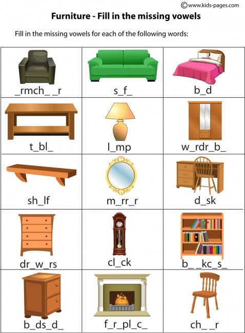 Interesting Worksheets Household Items For Your Furniture Clipart