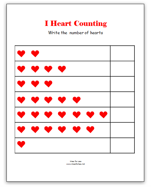 Interesting Worksheets Of Numbers For Kindergarten On Valentine S
