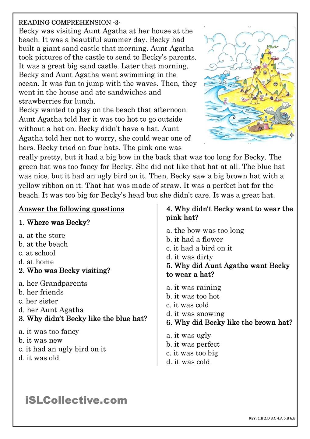 Kids  Reading Exercises Elementary  Reading Worksheets Inference