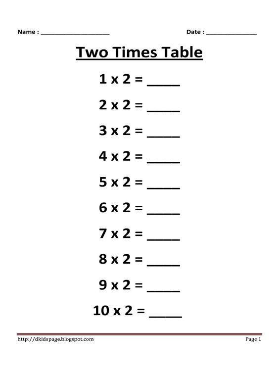 Kids Page 2 Times Multiplication Table Worksheet Multiplication