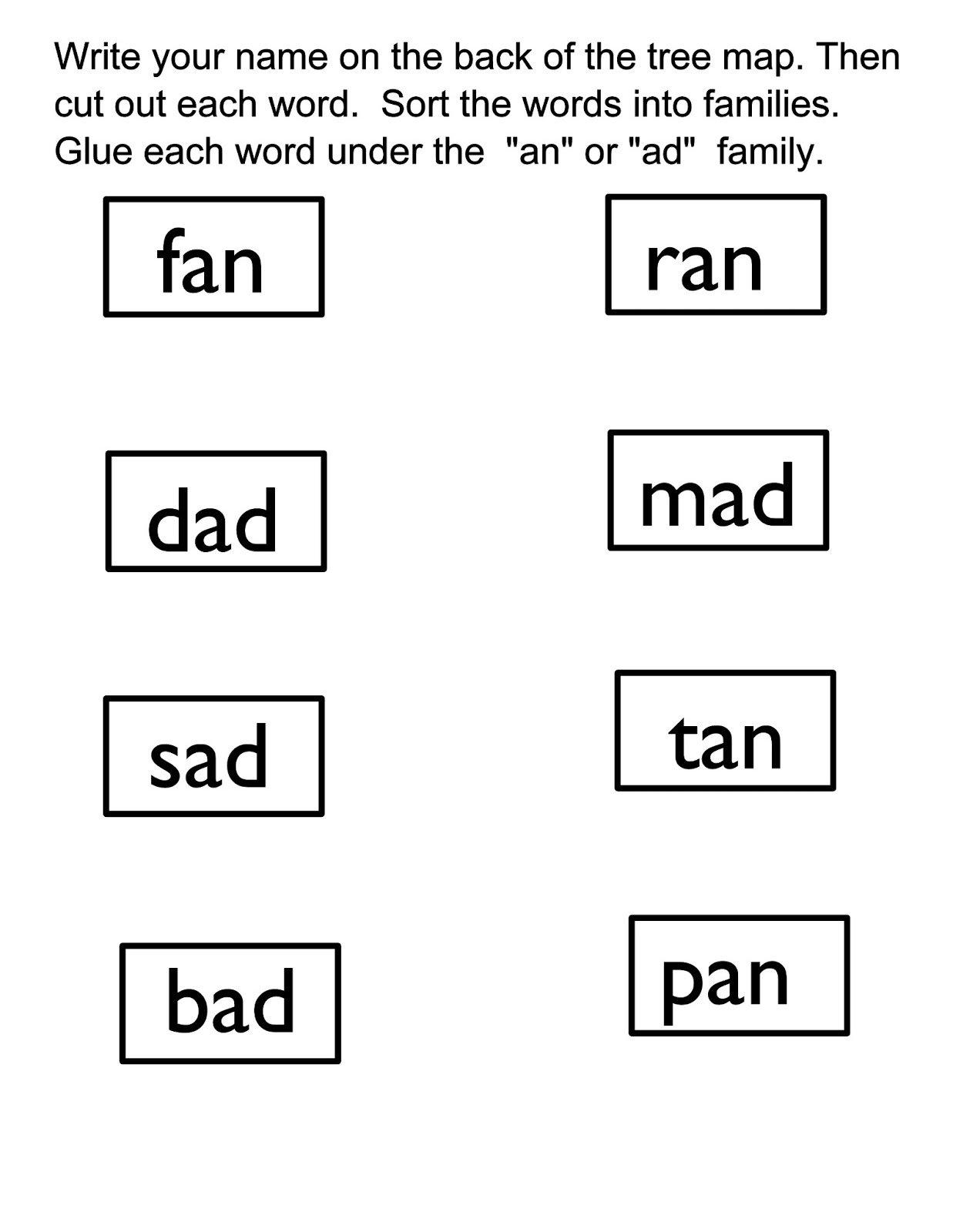 Kindergarten At Word Family Worksheets The Best Worksheets Image