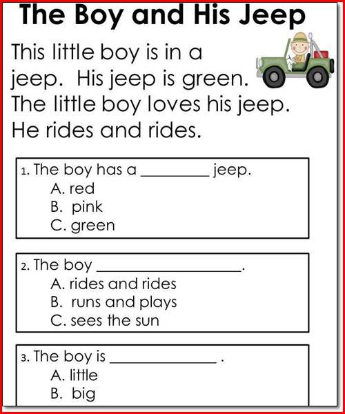 Kindergarten Comprehension Worksheets Free