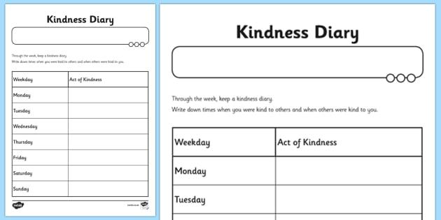 Kindness Diary Worksheet
