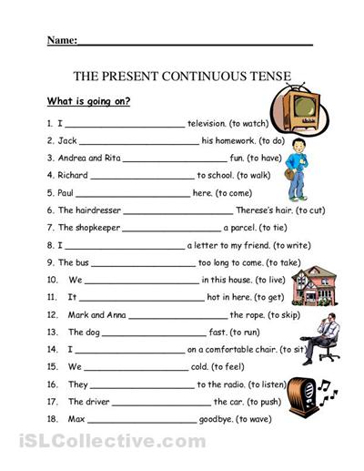 La Escuela De Ingles De Eva  The Present Continuous Tense