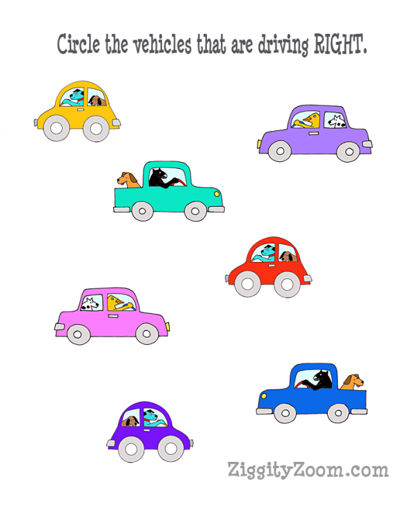 Left And Right Concept Worksheets