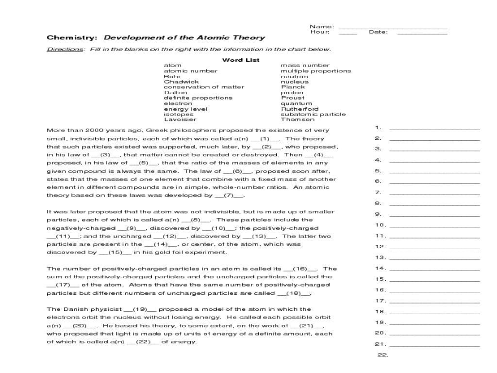 Likesoy » Worksheet On Development Of Atomic Theory Kidz