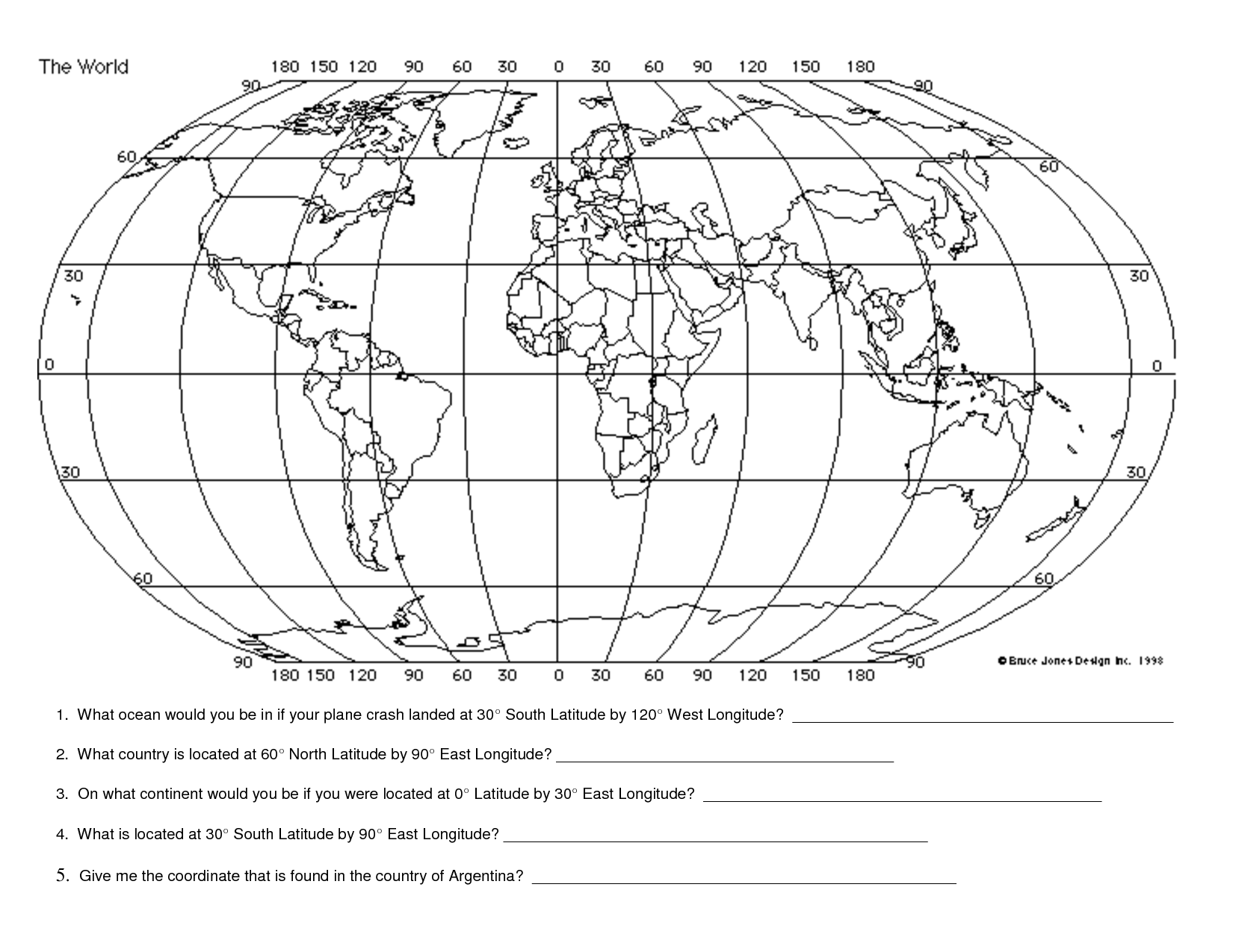 Longitude And Latitude Worksheets For 4th Grade
