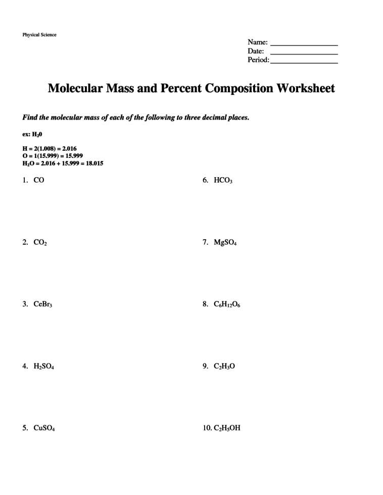Mass Percent Composition Worksheet With Answers