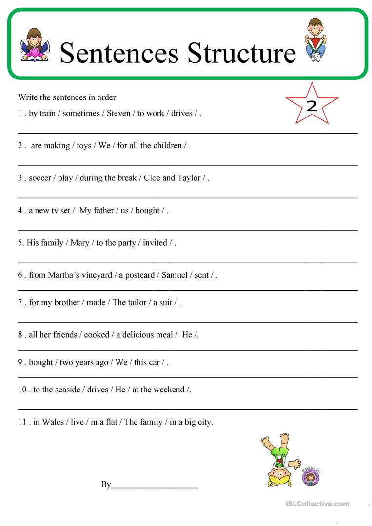 Math  Sentence Structure Worksheets Free  Rd Grade Sentence