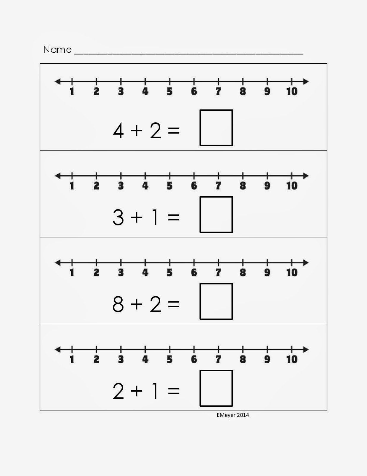 Math Addition Worksheets Using Number Line 235379