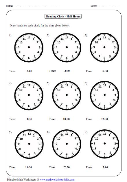 Math Clock Worksheets Kindergarten 102317