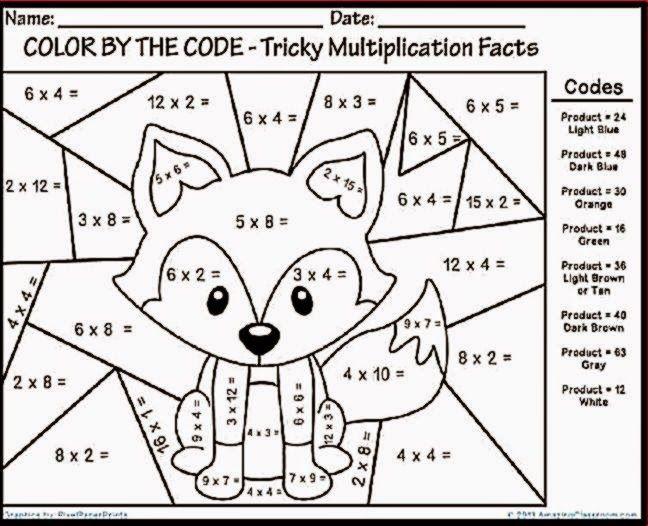 Math Coloring Sheets 3rd Grade
