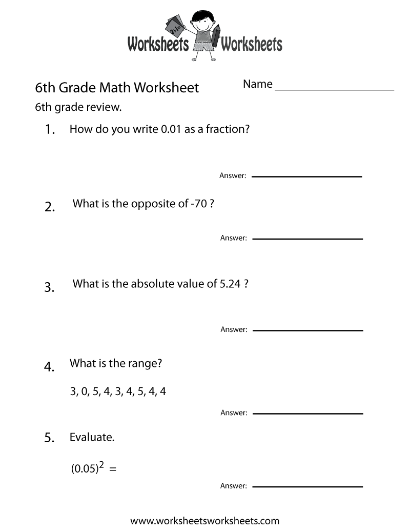 Math For 6th Grade Worksheets The Best Worksheets Image Collection