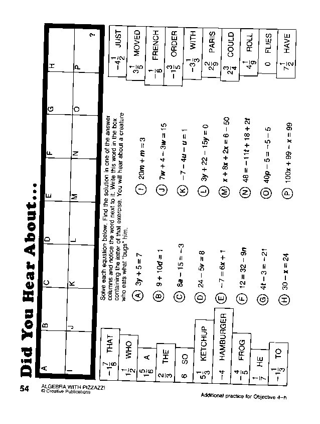Math With Pizzazz Page 90 Worksheets For All Math Worksheet Did
