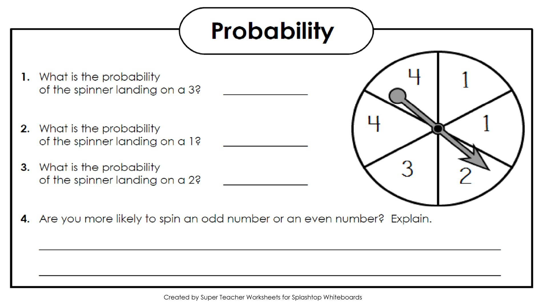 Math Worksheets About Probability 396399