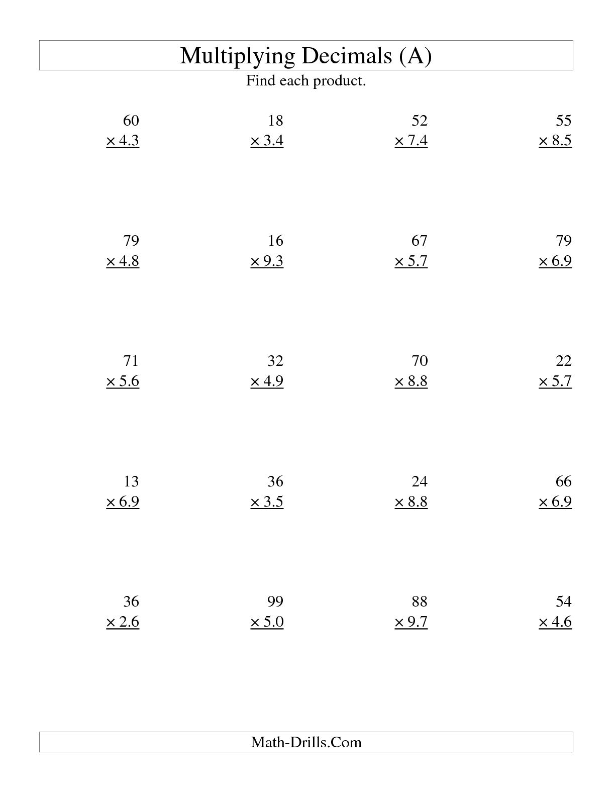Math Worksheets Dividing Decimals By Whole Numbers Worksheet
