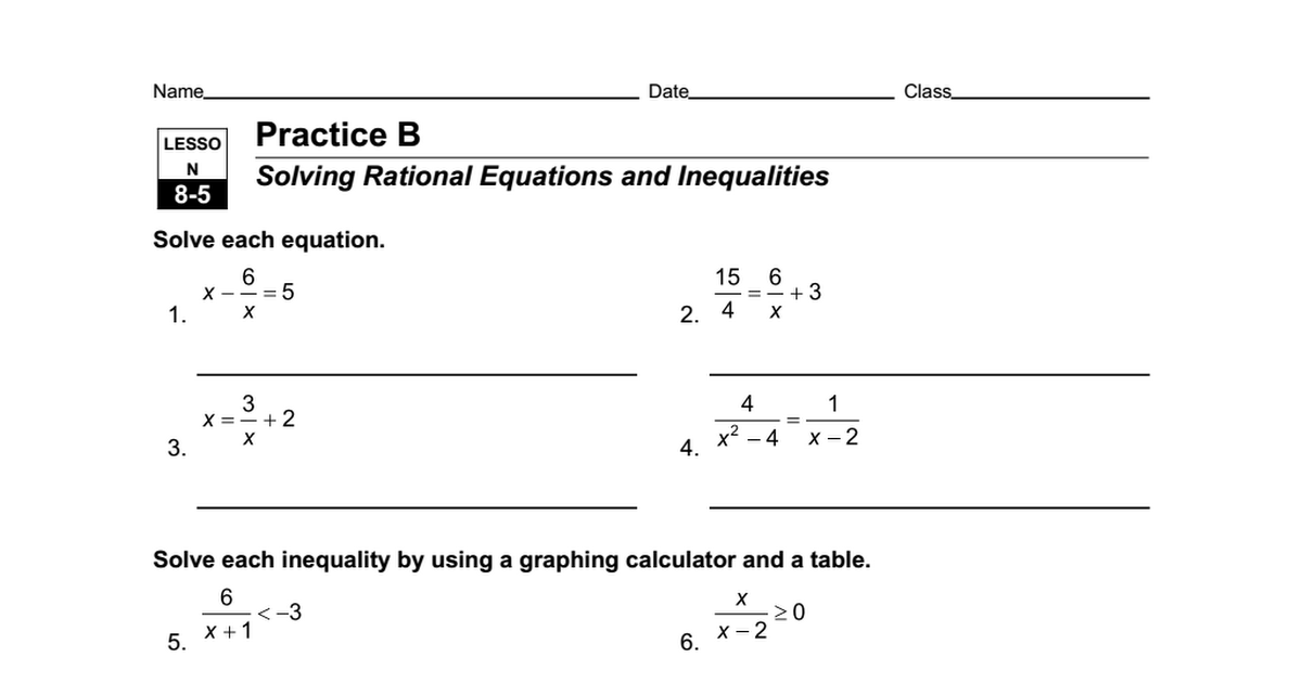 Math Worksheets Equations And Inequalities 303848