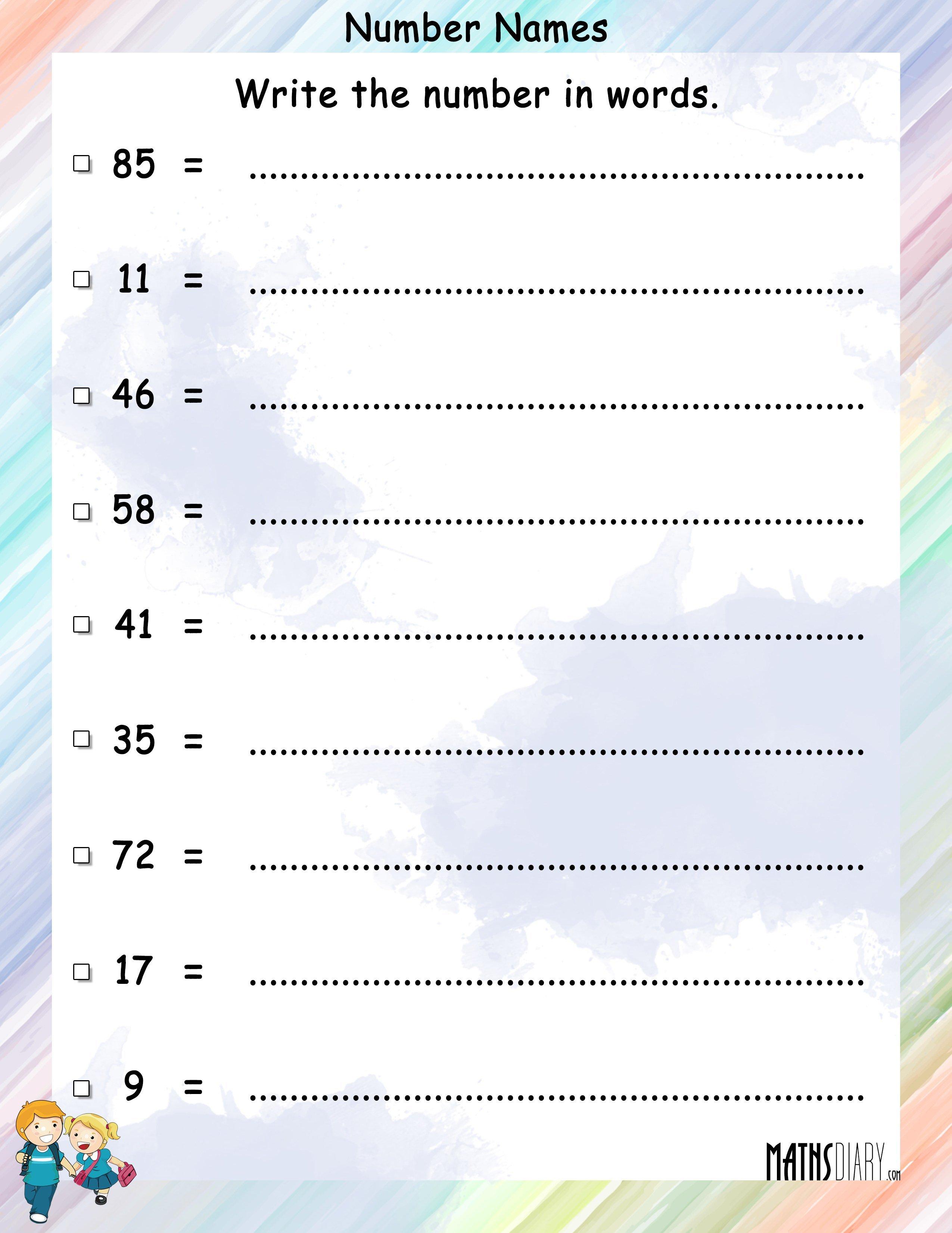 Math Worksheets For Grade 1 Number Names 21007