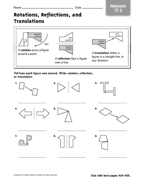 Math Worksheets For Translations Reflections And Rotations 126018