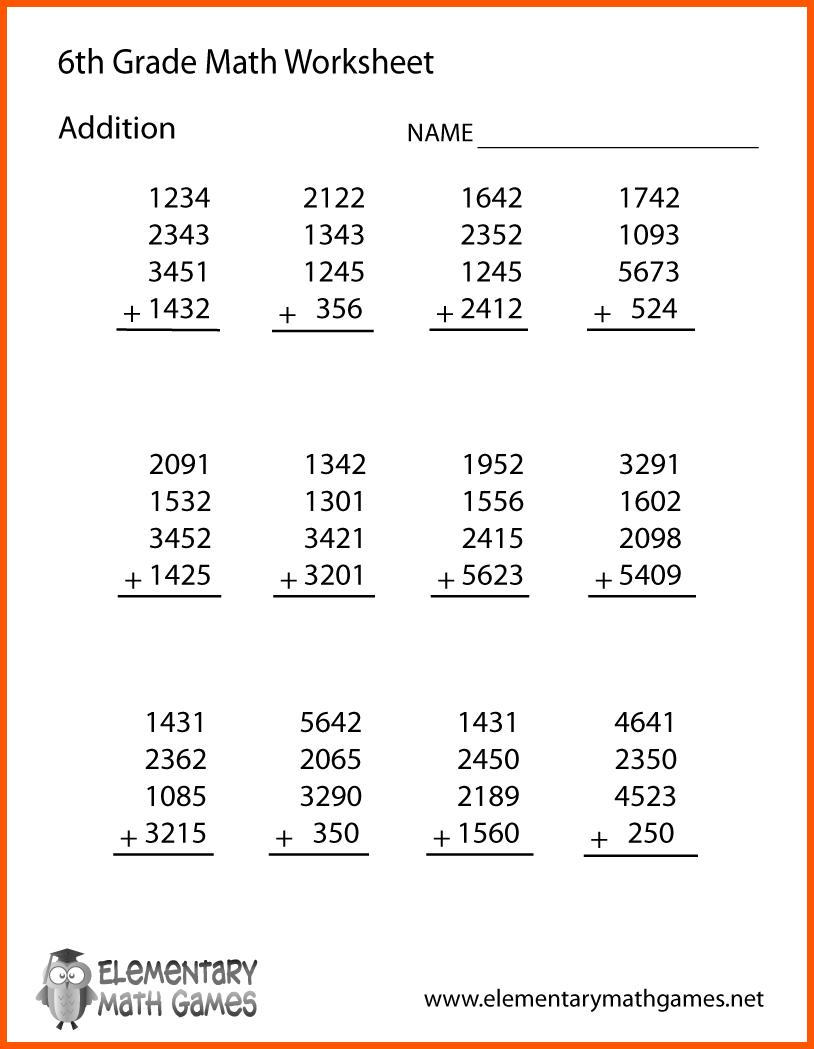 Math Worksheets Of 6th Grade 95681