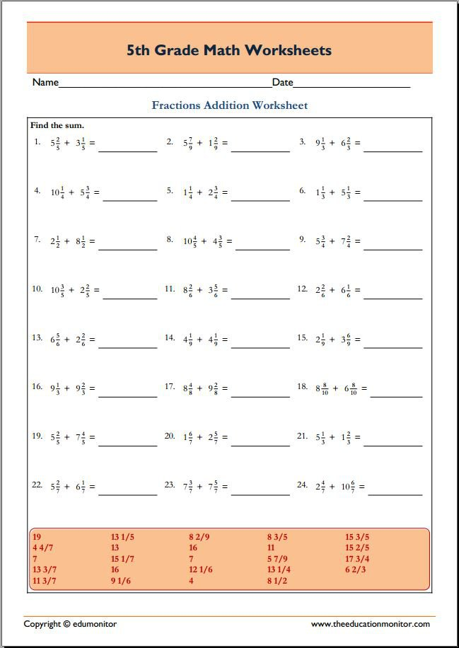 Math Worksheets To Print For 5th Grade 226282