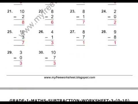Maths Subtraction Worksheets For Class 1