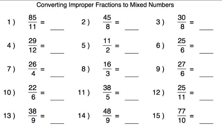 Mixed Fractions Worksheets Improper To Mixed Fractions Worksheets